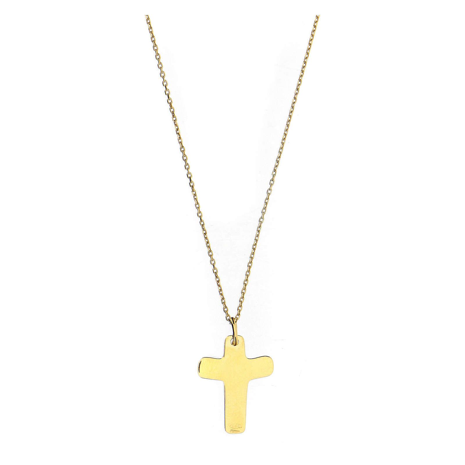 Croce dorata In Manus Tuas rilievo argento 925 4