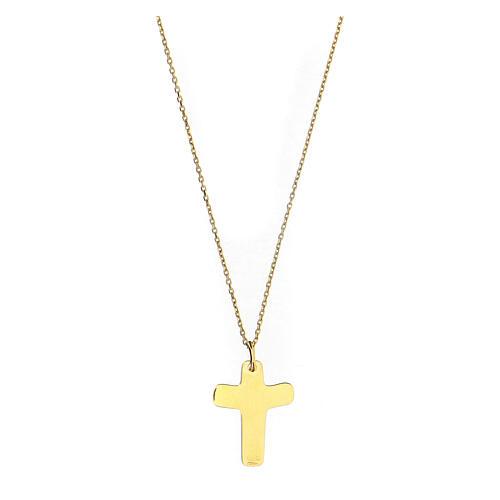 Croce dorata In Manus Tuas rilievo argento 925 2