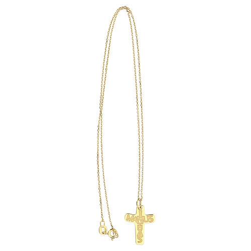 Croce dorata In Manus Tuas rilievo argento 925 3