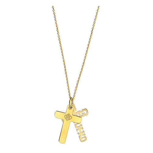 Doble cruz E Gioia Sia plata 925 dorada 4