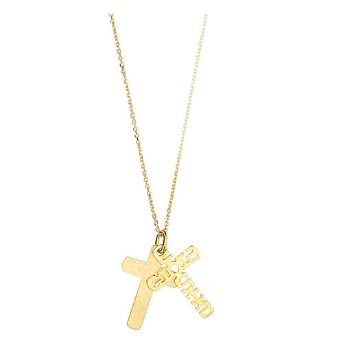 Double croix E Gioia Sia argent 925 doré 2