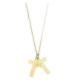 Doppia croce E Gioia Sia argento 925 dorato s2