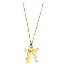 Doppia croce E Gioia Sia argento 925 dorato s4