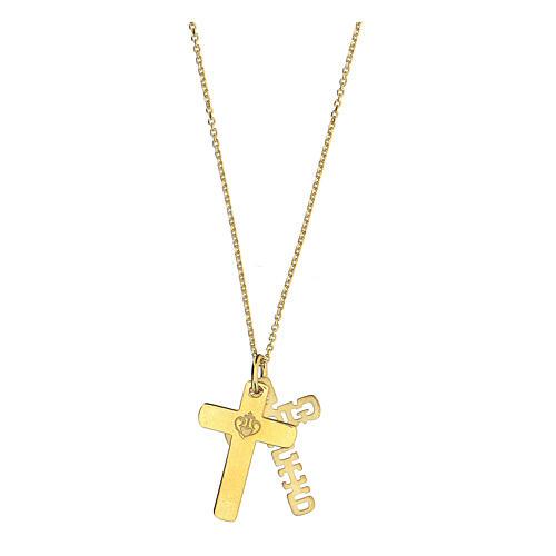 Doppia croce E Gioia Sia argento 925 dorato 4