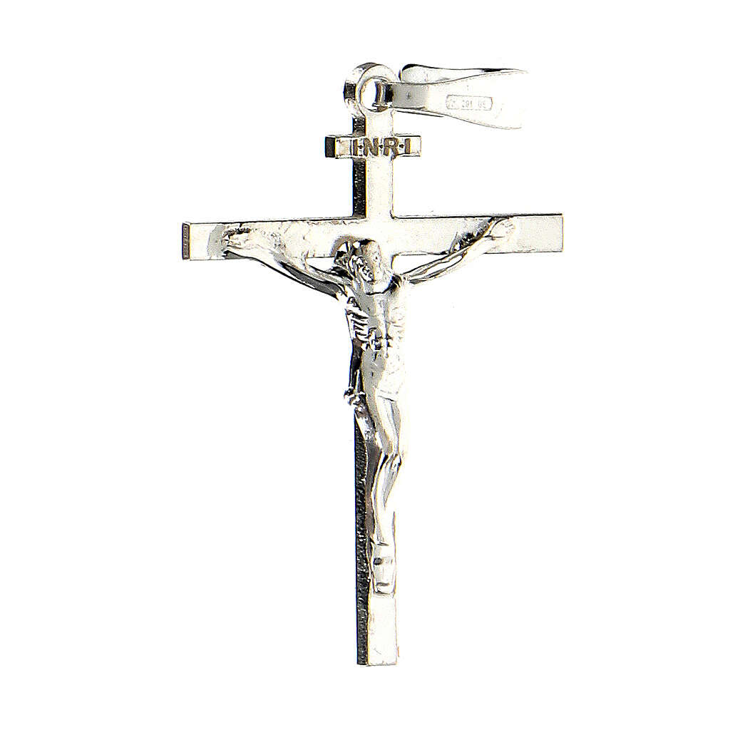 Pendente croce argento 925 Crocefisso Miracoloso 2,6x2 cm 4