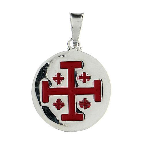 Pendente tondo Cavalieri Santo Sepolcro croce Gerusalemme argento 925 smalto rosso 1