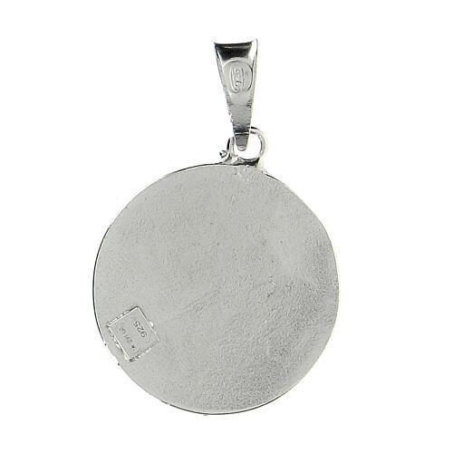 Pendente tondo Cavalieri Santo Sepolcro croce Gerusalemme argento 925 smalto rosso 2