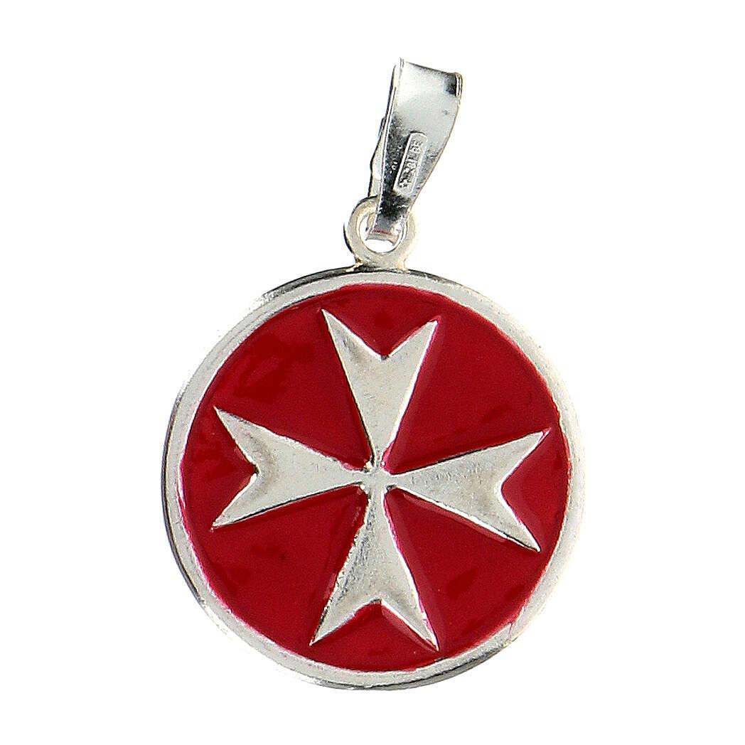 Pendentif Chevalier de Malte émail rouge argent 925 4