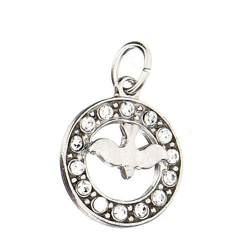 Pendente colomba Spirito Santo argento 925 Swarovski bianchi 2