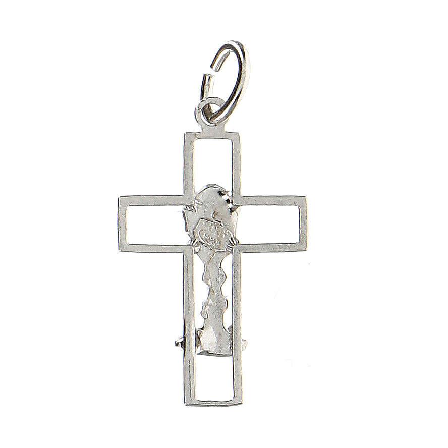 Cruz latina perforada cáliz plata 925 4