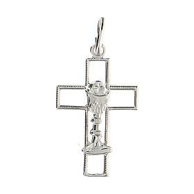 Cruz latina perforada cáliz plata 925 s1