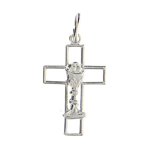 Cruz latina perforada cáliz plata 925 1
