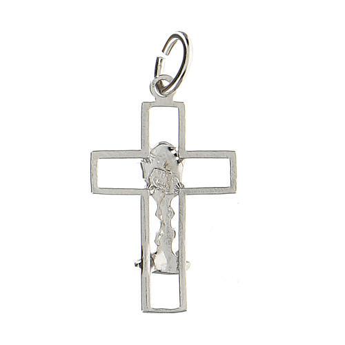 Cruz latina perforada cáliz plata 925 2