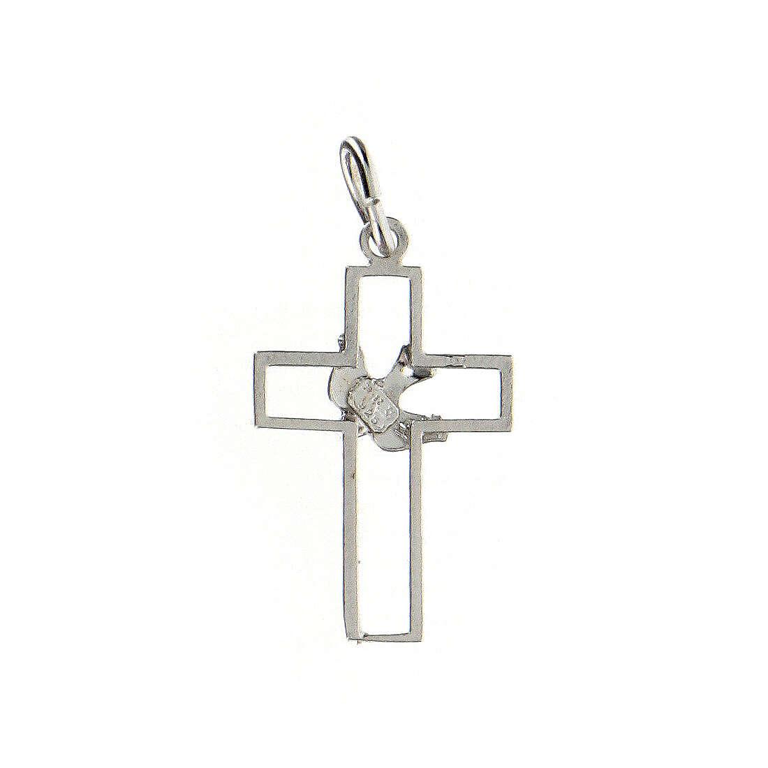 Pendente croce traforata sottile colomba argento 925 4