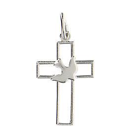 Pendente croce traforata sottile colomba argento 925 s1