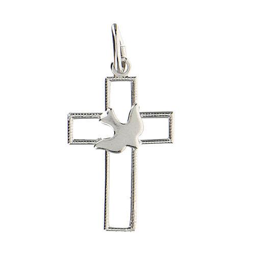 Pendente croce traforata sottile colomba argento 925 1