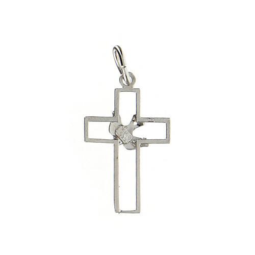 Pendente croce traforata sottile colomba argento 925 2