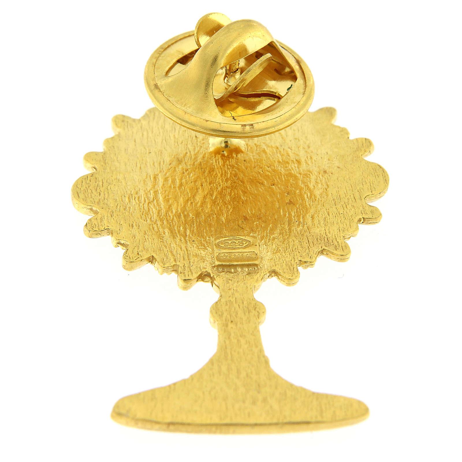 Broche ostensoir argent 925 doré émail blanc IHS 4