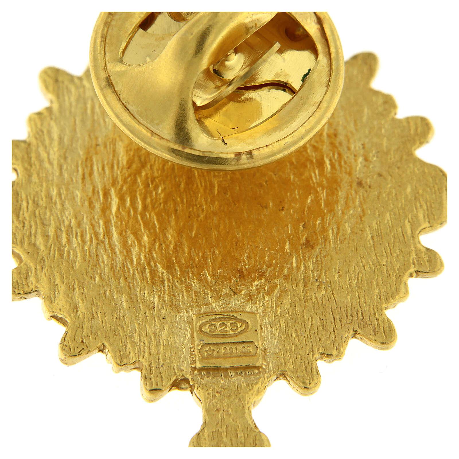 Spilla ostensorio argento 925 dorato smalto bianco IHS 4