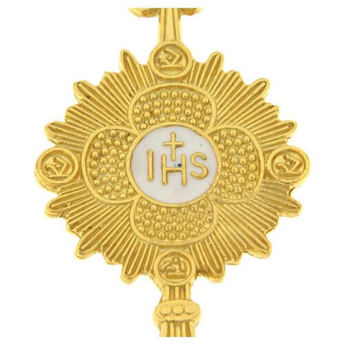 Spilla ostensorio argento 925 dorato smalto bianco IHS 2