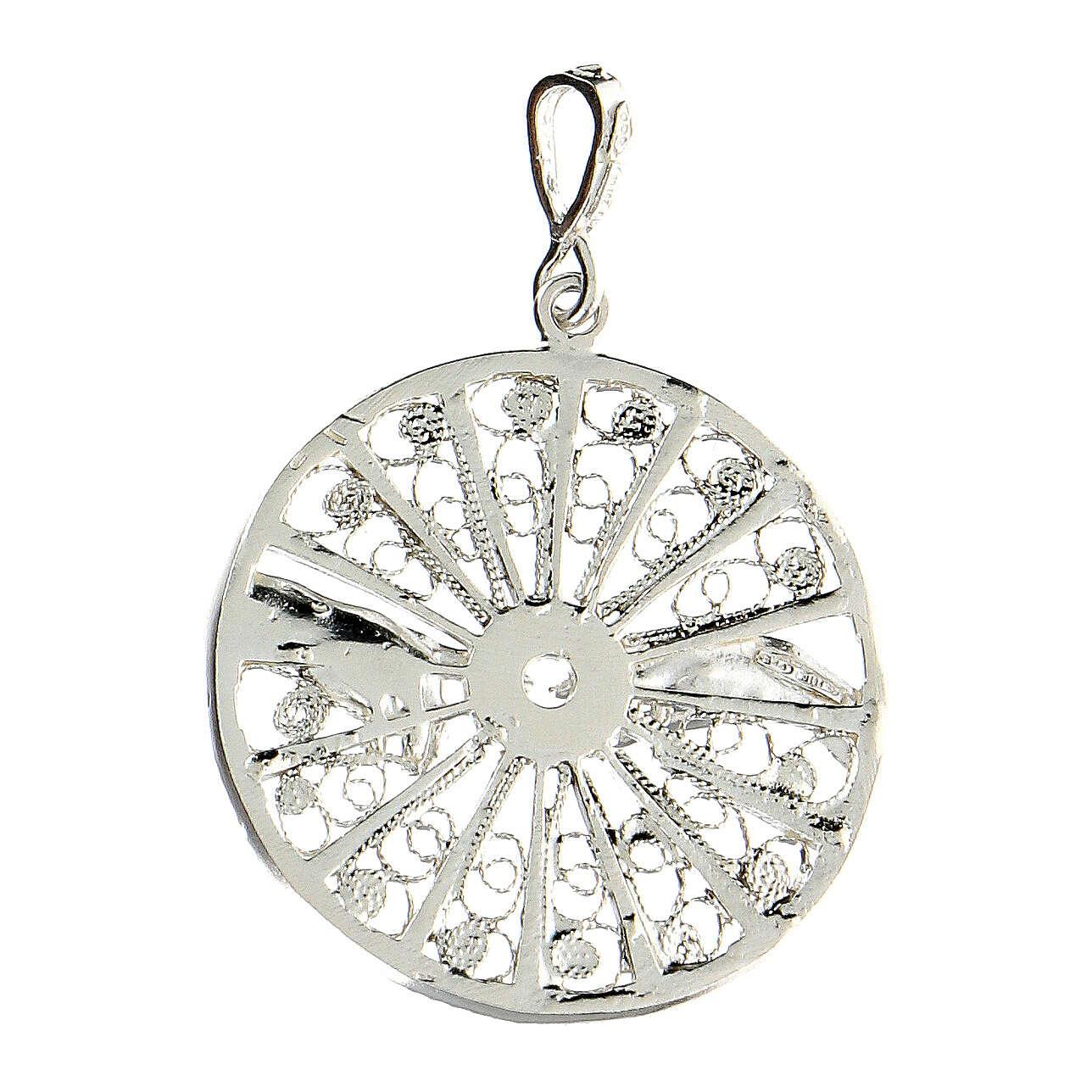 Pendente filigrana argento 925 circolare mani creazione Adamo 4