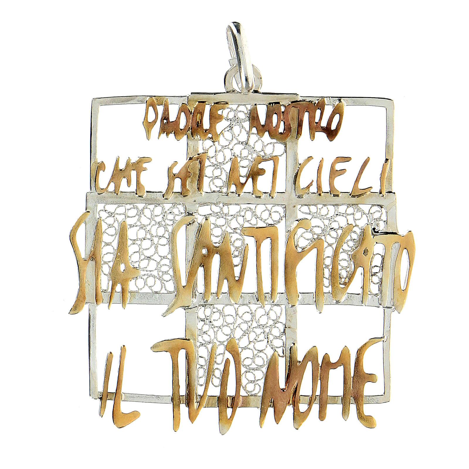 Colgante cuadrado cruz filigrana Padre Nuestro bicolor plata 925 4