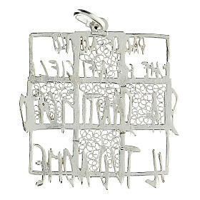 Colgante cuadrado cruz filigrana Padre Nuestro bicolor plata 925 s2