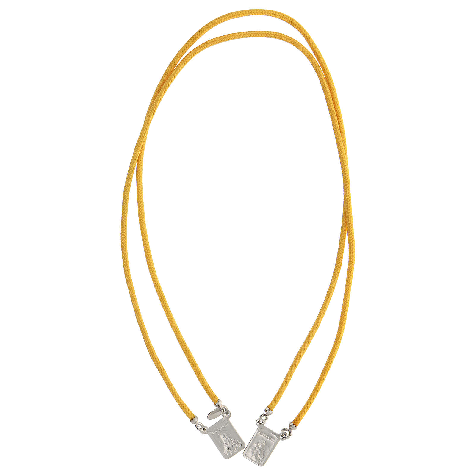 Escapulario plata 925 cuerda amarra amarilla medallas escuadradas 4