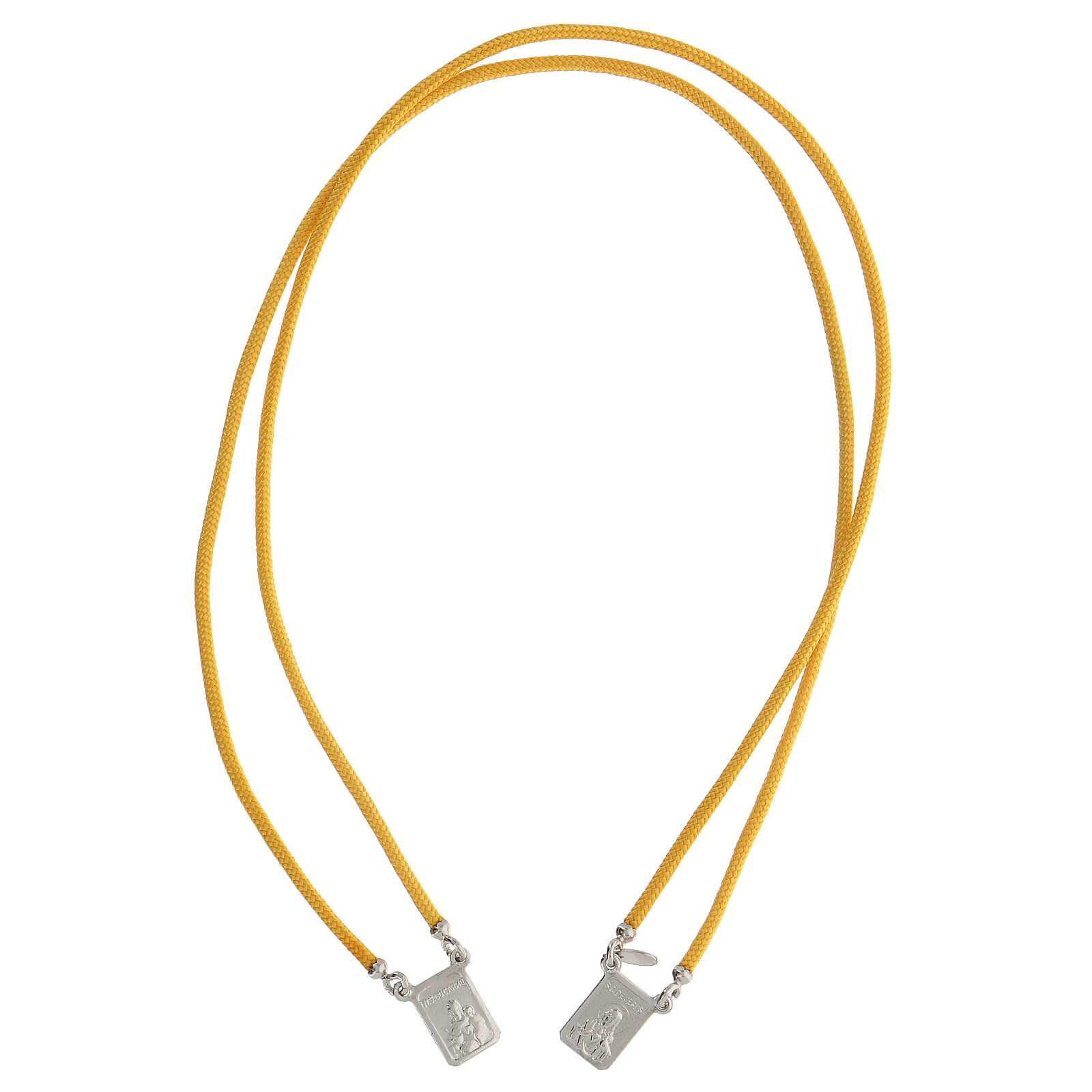 Scapulaire argent 925 corde jaune médailles carrées 4