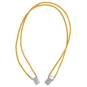 Scapulaire argent 925 corde jaune médailles carrées s1