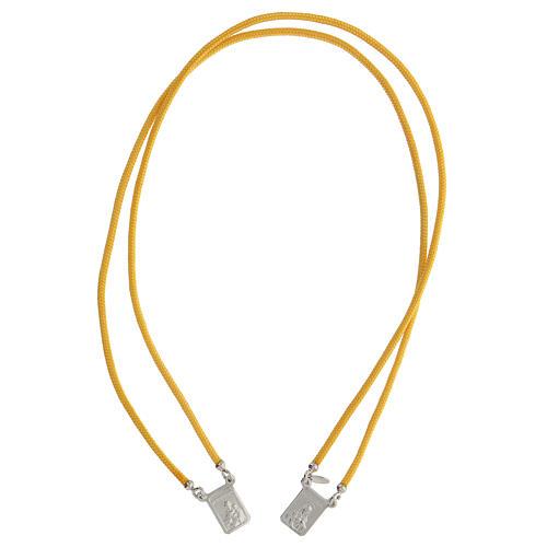 Scapulaire argent 925 corde jaune médailles carrées 1