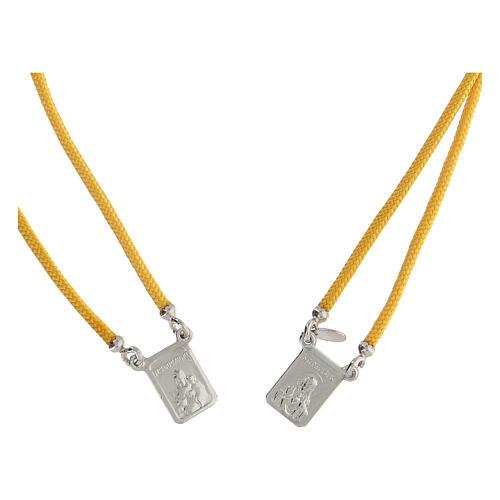 Scapulaire argent 925 corde jaune médailles carrées 2