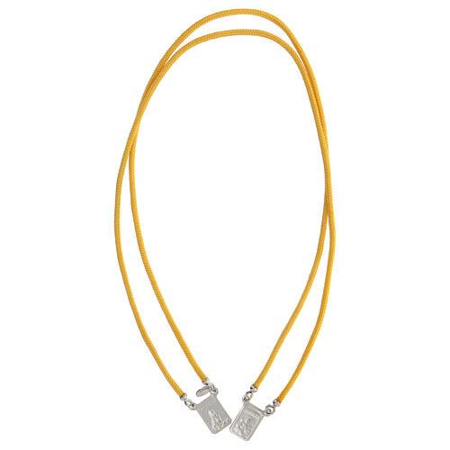 Scapulaire argent 925 corde jaune médailles carrées 3