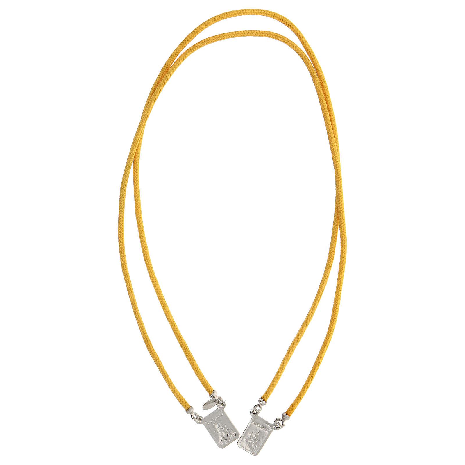 Scapolare argento 925 corda sagola gialla medaglie squadrate 4
