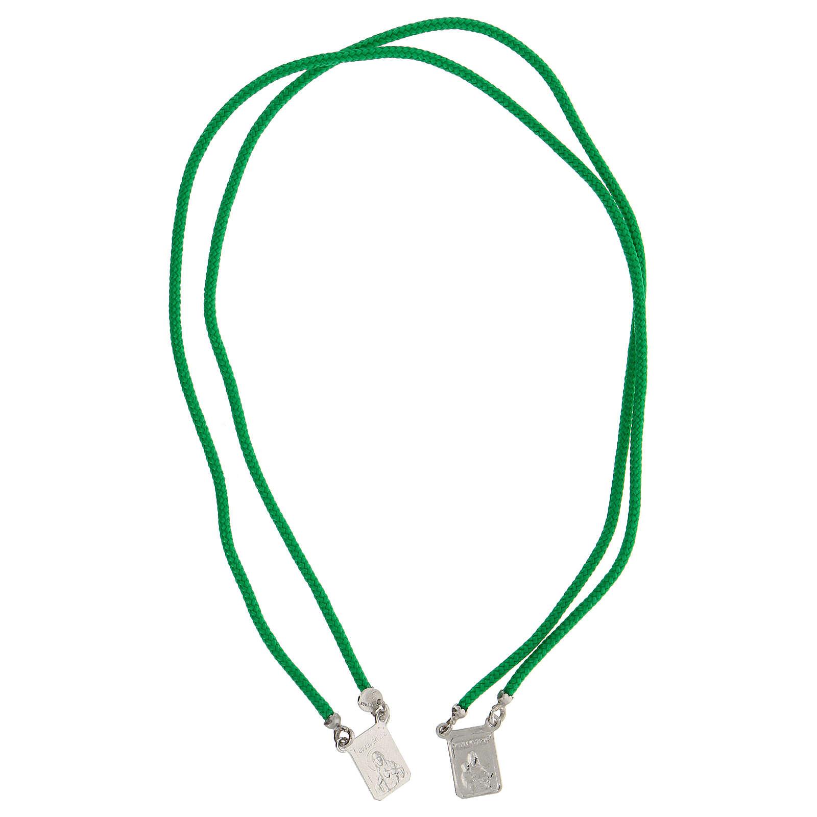 Scapulaire argent 925 corde verte Sacré-Coeur et Notre-Dame du Mont-Carmel 4