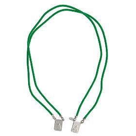 Scapulaire argent 925 corde verte Sacré-Coeur et Notre-Dame du Mont-Carmel s1