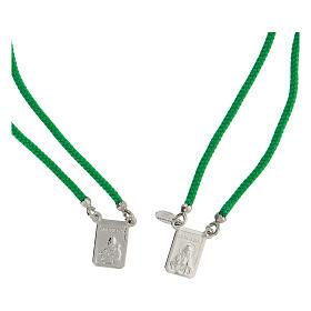 Scapulaire argent 925 corde verte Sacré-Coeur et Notre-Dame du Mont-Carmel s2