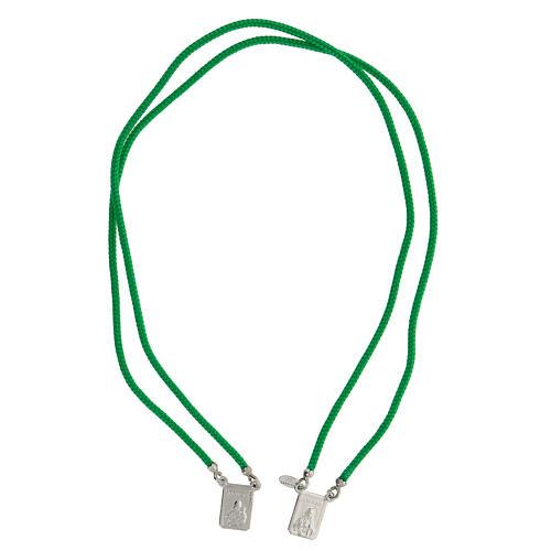 Scapulaire argent 925 corde verte Sacré-Coeur et Notre-Dame du Mont-Carmel 1