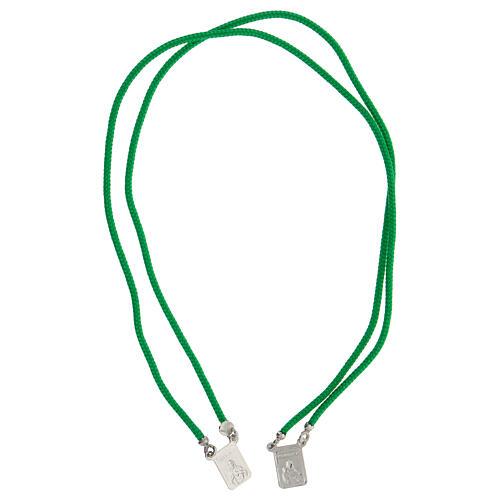 Scapulaire argent 925 corde verte Sacré-Coeur et Notre-Dame du Mont-Carmel 3
