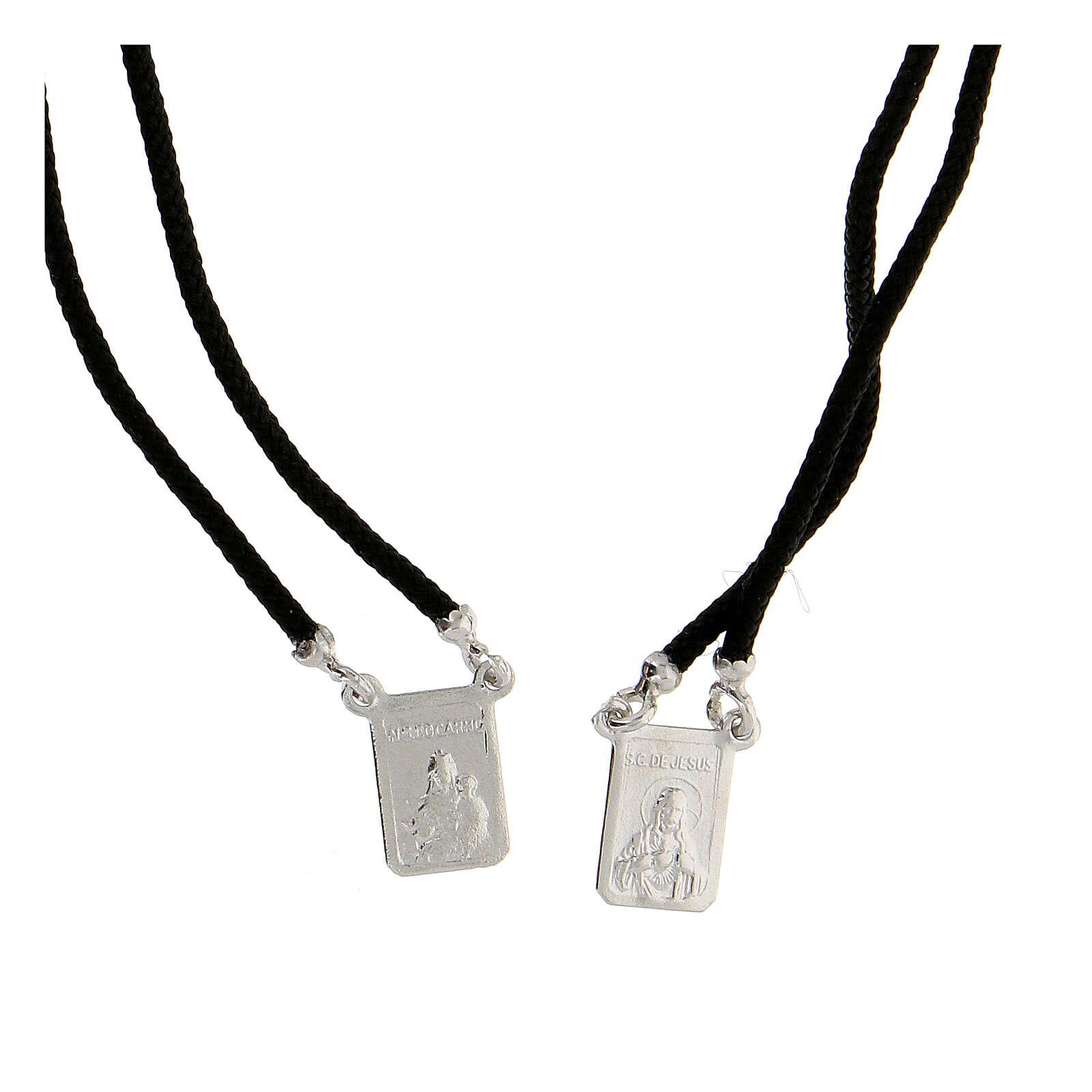 Scapolare nero sagola argento 925 medagliette rettangolari 4