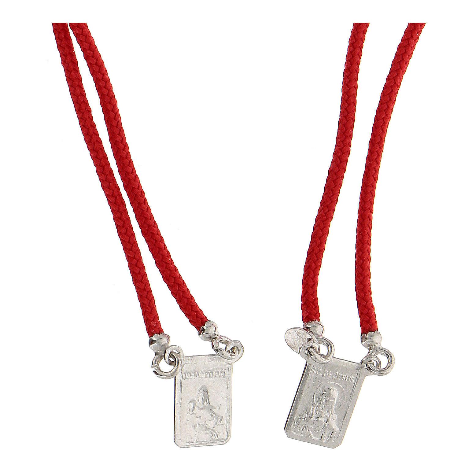 Scapulaire Notre-Dame du Mont-Carmel corde rouge argent 925 4