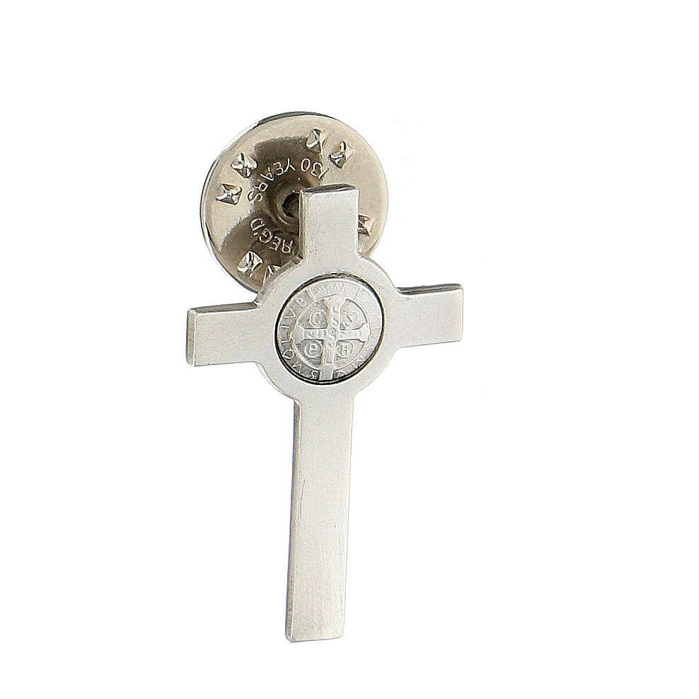 Spilla croce San Benedetto argento 925 4