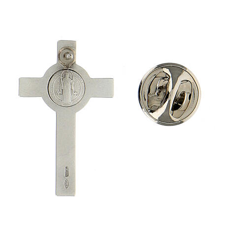 Spilla croce San Benedetto argento 925 2