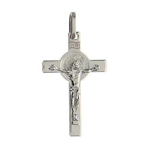 Kruzifix aus rhodiniertem 925 Silber mit Sankt Benedikt, 3 x 2 cm