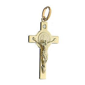Croce San Benedetto oro 14kt 5,5 gr e diamante 4,5x2,5 cm