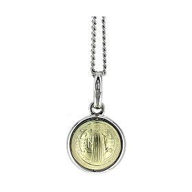 Ciondolo San Benedetto oro 18k argento 925 4 cm 2,8 g