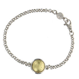 Bracelet with Saint Benedict medal, 18K gold and 925 silver