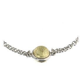 Pulseira medalha São Bento ouro 18K e prata 925