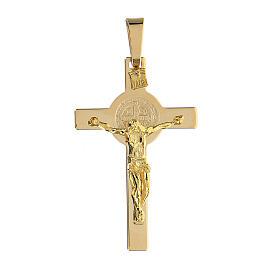 Colgante cruz San Benito oro 14 k 4,7 gr 4,5x2,5 cm