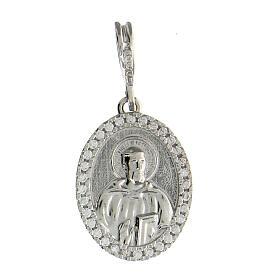 Medaglia argento 925 rodiato San Benedetto